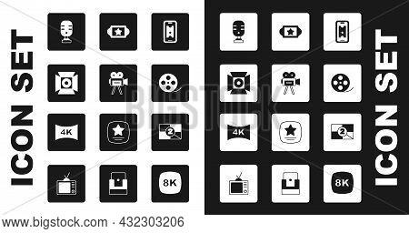 Set Buy Cinema Ticket Online, Retro Camera, Movie Spotlight, Microphone, Film Reel, Cinema, Old Film