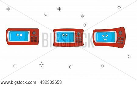 Funny Emotional Microwave. Cartoon Character Of Kitchen Appliances. A Cheerful And Tired Household A