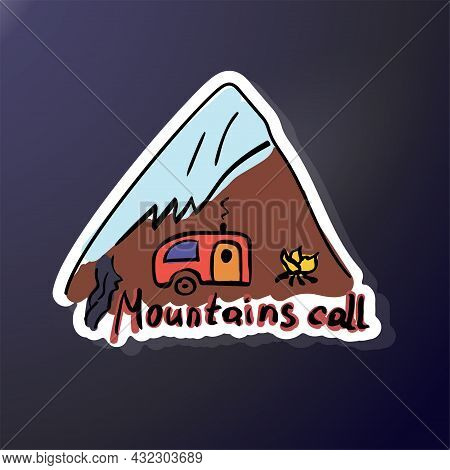 Triangular Sticker Of Camping And Foot Of The Mountain. In Doodle Style. Sketch Rest. Campfire In Na