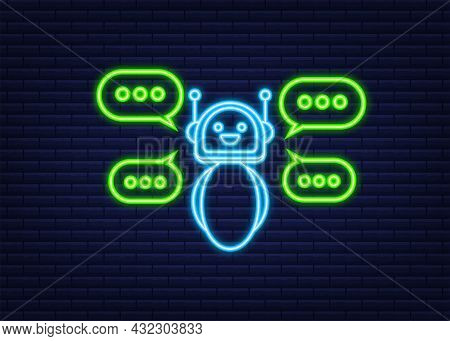Robot Icon. Bot Sign Design. Neon Icon. Chatbot Symbol Concept. Voice Support Service Bot. Online Su