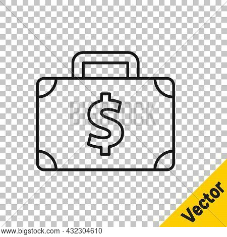 Black Line Briefcase And Money Icon Isolated On Transparent Background. Business Case Sign. Business