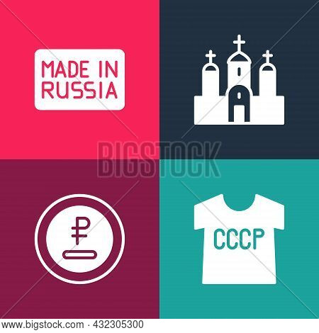Set Pop Art Ussr T-shirt, Rouble, Ruble Currency, Church Building And Made Russia Icon. Vector