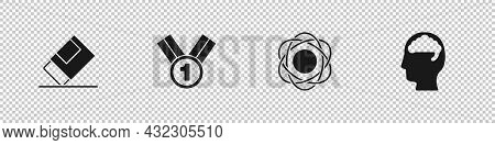 Set Eraser Or Rubber, Medal, Atom And Human Brain Icon. Vector