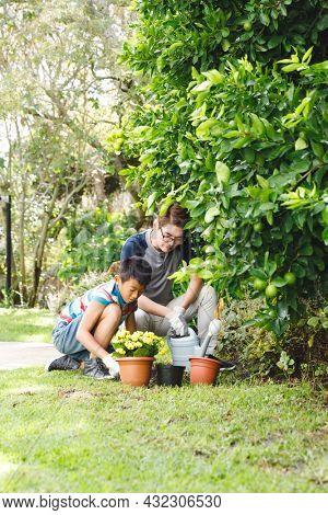 Happy asian father and son smiling, wearing gloves and planting plants together in garden. family leisure time at home gardening.