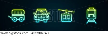 Set Line Wild West Covered Wagon, Car, Cable Car And Train And Railway. Glowing Neon Icon. Vector