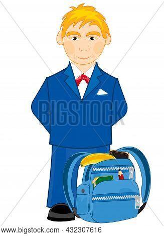 Boy Schoolboy With Briefcase With School Attribute