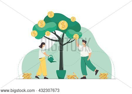 People Watering Money Tree And Picking Golden Coins From Green Plant. Successful Business Growth, In