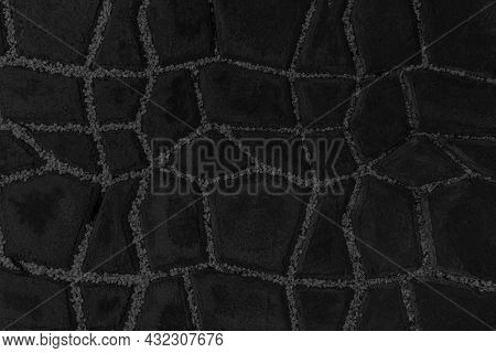Black Cladding Stone Floor Tile Pattern And Background