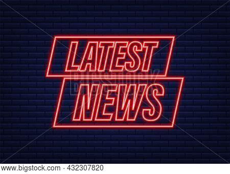 Latest News Neon Icon. Megaphone Banner. Web Design. Vector Stock Illustration.