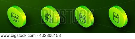 Set Isometric Line Location Law, Briefcase, Jurors And Law Book Icon. Vector