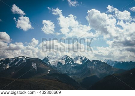 Awesome Alpine View To Big Snowy Mountains With Glacier. Wonderful Highland Scenery With Great Snowy