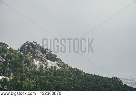 Scenic Mountain Landscape With Sharp Rocks On Snowy Hill With Coniferous Trees. Rocky Pointy Peak Wi