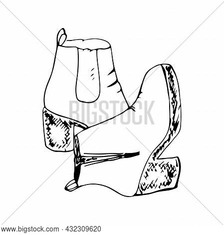 Women's Autumn Boots With Heels With A Lock Isolated On A White Background. Black And White Vector I