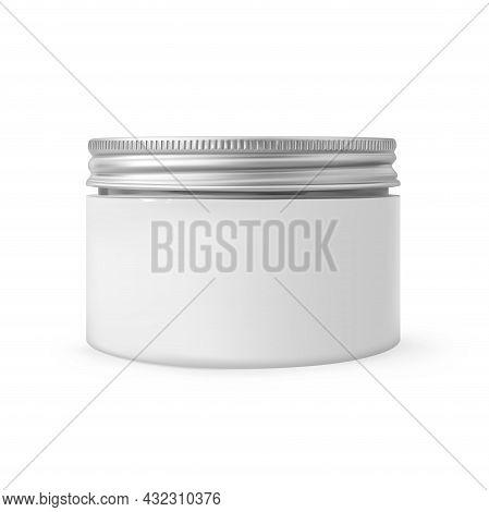 Realistic Cosmetic Moisturizer Body Cream Jar Mockup Isolated On White Background. White Plastic Bea