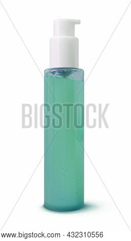 Facial Cleanser Realistic Cosmetic Bottle Mock-up Isolated On White Background. 3d Vector Illustrati