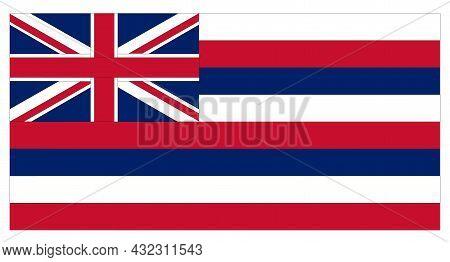 Hawaii Flag On White Background. Hawaiian Flag Sign. Hawaii State Flag Symbol. Flat Style.