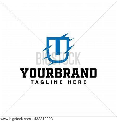 Letter U Logo Design With Blue Paws Vector Illustration