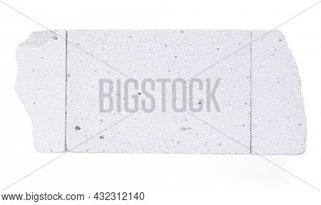 Aerated concrete block isolated on white background. Lightweight concrete texture surface