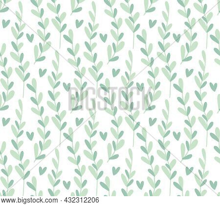 Seamless Pattern Background With Abstract Hand Drawn Plant Branch Silhouette. Cute Minimalist Winter