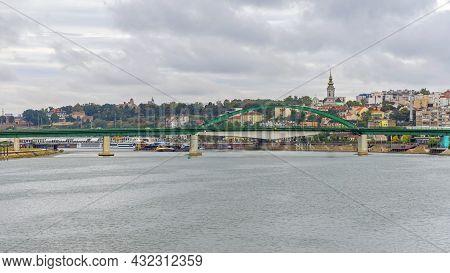 River Sava Old Bridge Bad Weather Day In Belgrade Serbia