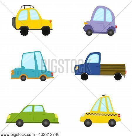 Set Of Cartoon Transport. Police, Yelow Jeep, Taxi, Blue Car, Purple Car, Green Car, Truck. Vector I