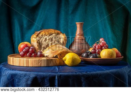 Still Life With A Jug, Fruit And Bread.