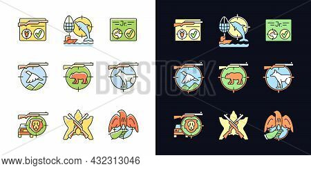 Wild Animals Hunting Light And Dark Theme Rgb Color Icons Set. Big And Small Game Hunting. Hunt Lice