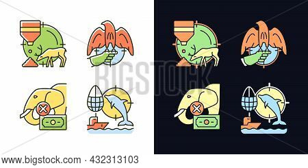 Illegal Hunting Light And Dark Theme Rgb Color Icons Set. Bait Hunting. Dolphin And Elephant Cruel H