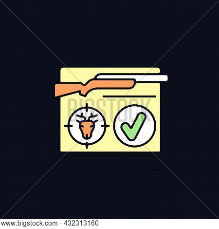 Resident Hunting License Rgb Color Icon For Dark Theme. Qualified Hunter. Official Document. Capture