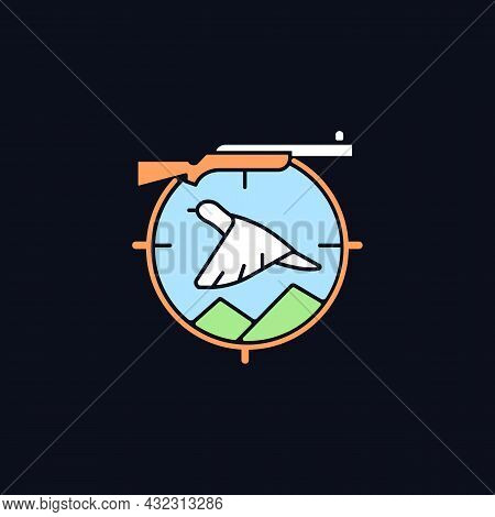 Upland Hunting Rgb Color Icon For Dark Theme. Wingshooting. Terrestrial Birds. Hunting With Dogs. Is