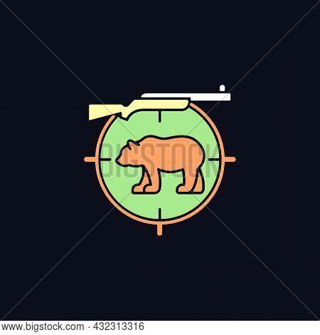Big Game Hunting Rgb Color Icon For Dark Theme. Hunt Large Animals. African Species Hunting. Safari.