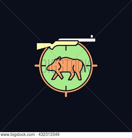 Wild Boar Hunting Rgb Color Icon For Dark Theme. Capture And Kill Wild Hog. Feral Peccary And Pig. I