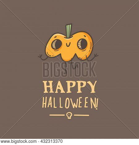 Halloween Card With Cute Cartoon Pumpkins. Holiday Poster With Spooky Characters. Vector Contour Col