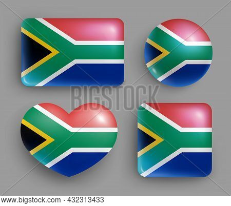 Republic Of South Africa Country Flag Buttons Set. Southern Africa Country National Flag, Shiny Geom
