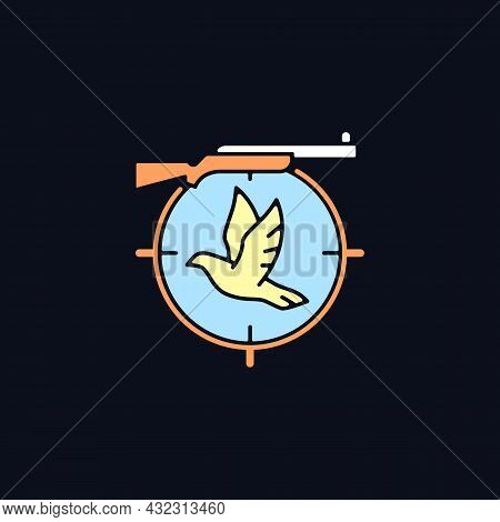 Pigeon Shooting Rgb Color Icon For Dark Theme. Bird Shooting Competition. Roost And Flighting Dove H
