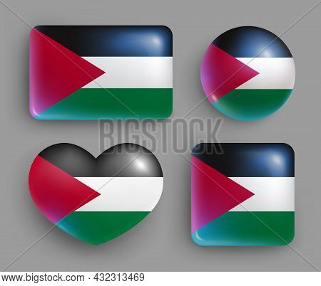 Set Of Glossy Buttons With Palestine Country Flag. Middle East Country National Flag, Shiny Geometri