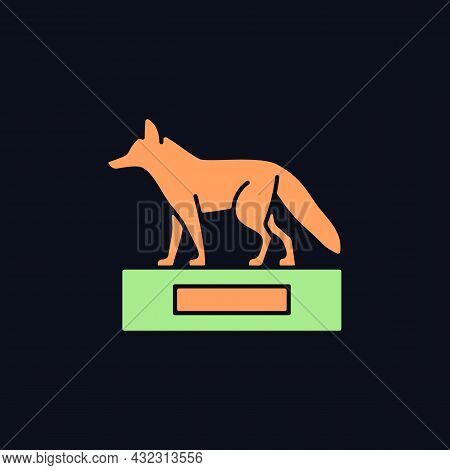 Taxidermy Rgb Color Icon For Dark Theme. Preserving And Stuffing Wild Dead Animals. Animal Body Disp