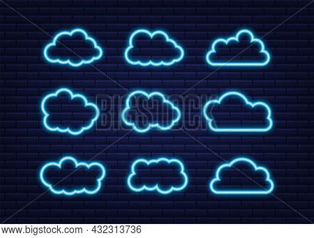 Set Of Blue Sky, Clouds. Cloud Icon, Cloud Shape. Neon Icon. Set Of Different Clouds. Collection Of