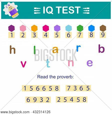 Kids Game. Iq Test. Read The Proverb.  Intelligence Puzzle, Visual Intelligence.