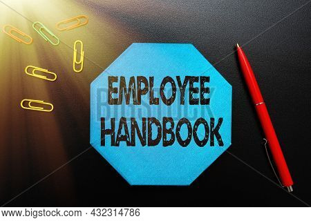 Text Caption Presenting Employee Handbook. Conceptual Photo States The Rules And Regulations And Pol