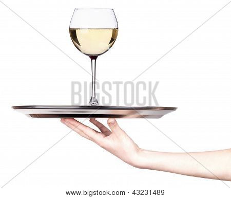 Glass Of White Wine On A Silver Tray