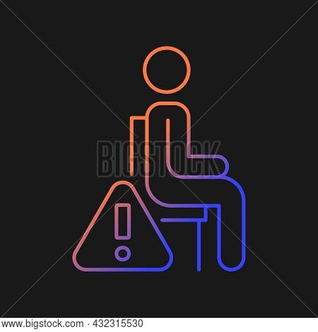 Remain Seated Gradient Vector Manual Label Icon For Dark Theme. Standing Causes Injuries. Thin Line