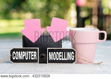 Text Caption Presenting Computer Modelling. Internet Concept Using A Computer To Make A Model Of A P