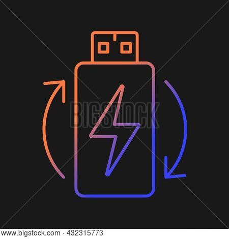 Rechargeable Lithium Ion Battery Gradient Vector Manual Label Icon For Dark Theme. Thin Line Color S