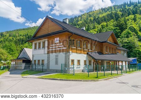 Szczyrk, Poland - June 6, 2021: Building Of Skalite Ski Jump Complex Named After The Beskid Olympian