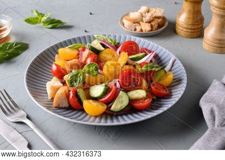 Tuscan Panzanella With Tomatoes And Bread. Italian Cuisine.