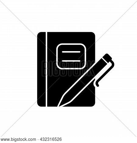 Graph Composition Notebook With Pen Black Glyph Icon. Assignment Book. Daily Use For School Notes Ta