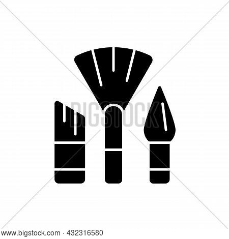 Paintbrushes Black Glyph Icon. Brush For Paint Applying. Drawing Tool For Artists. Acrylic And Water