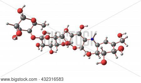Acarbose Molecular Structure Isolated On White
