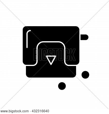 Hole-punch Black Glyph Icon. Paper Puncher. Device For Office Work. Punching Machine. Making Holes I